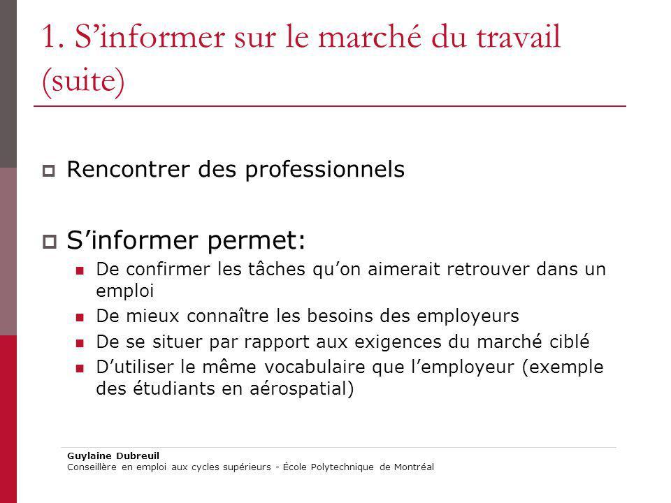 1. S'informer sur le marché du travail (suite)