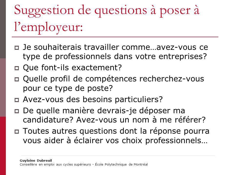 Suggestion de questions à poser à l'employeur:
