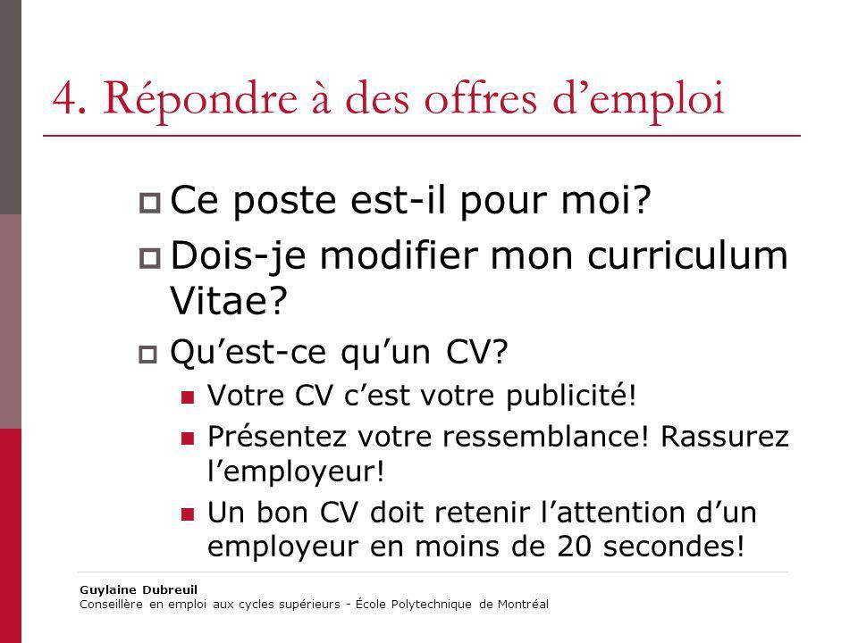 4. Répondre à des offres d'emploi