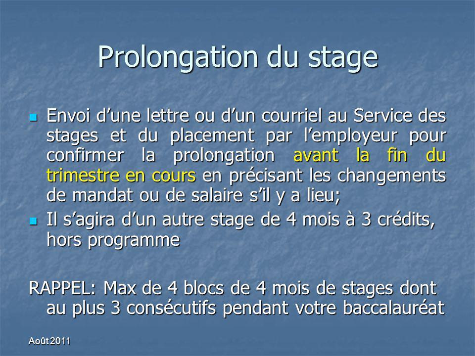 Prolongation du stage