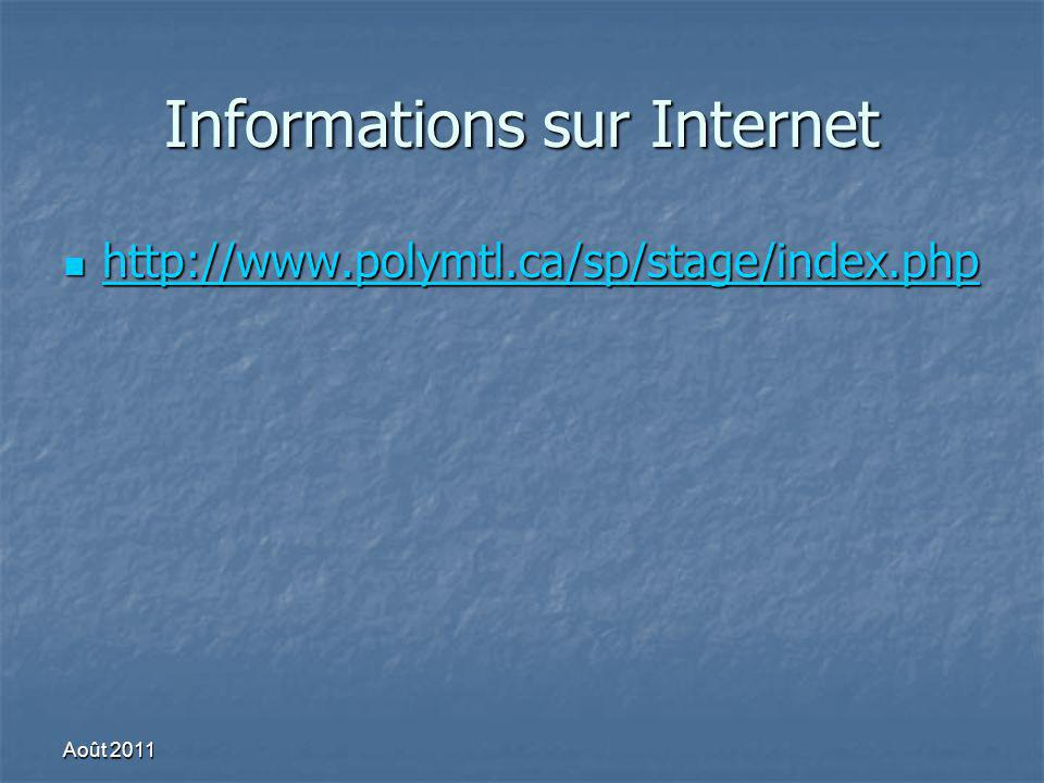 Informations sur Internet