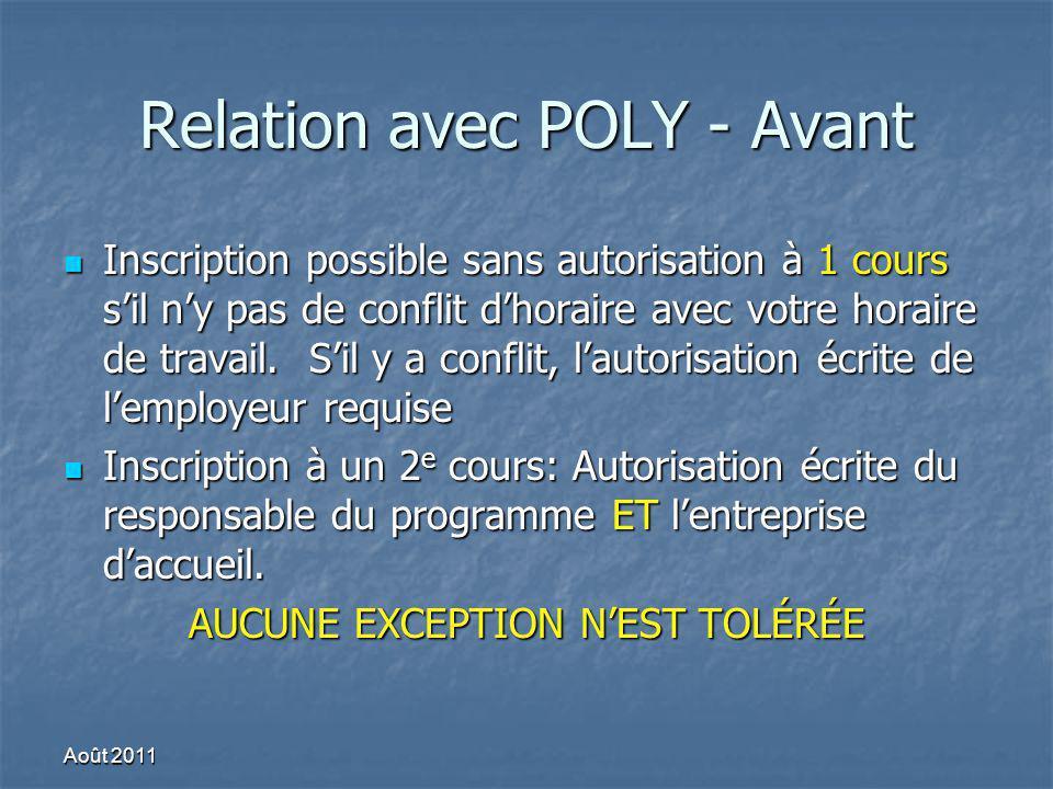 Relation avec POLY - Avant