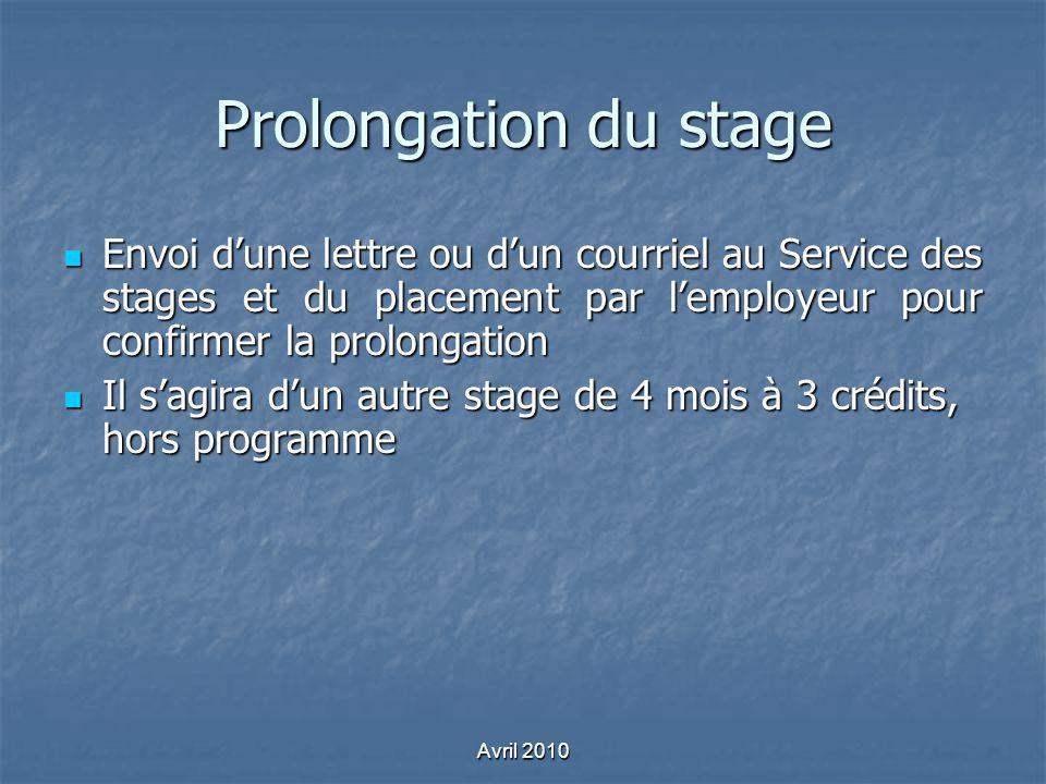 Prolongation du stage Envoi d'une lettre ou d'un courriel au Service des stages et du placement par l'employeur pour confirmer la prolongation.