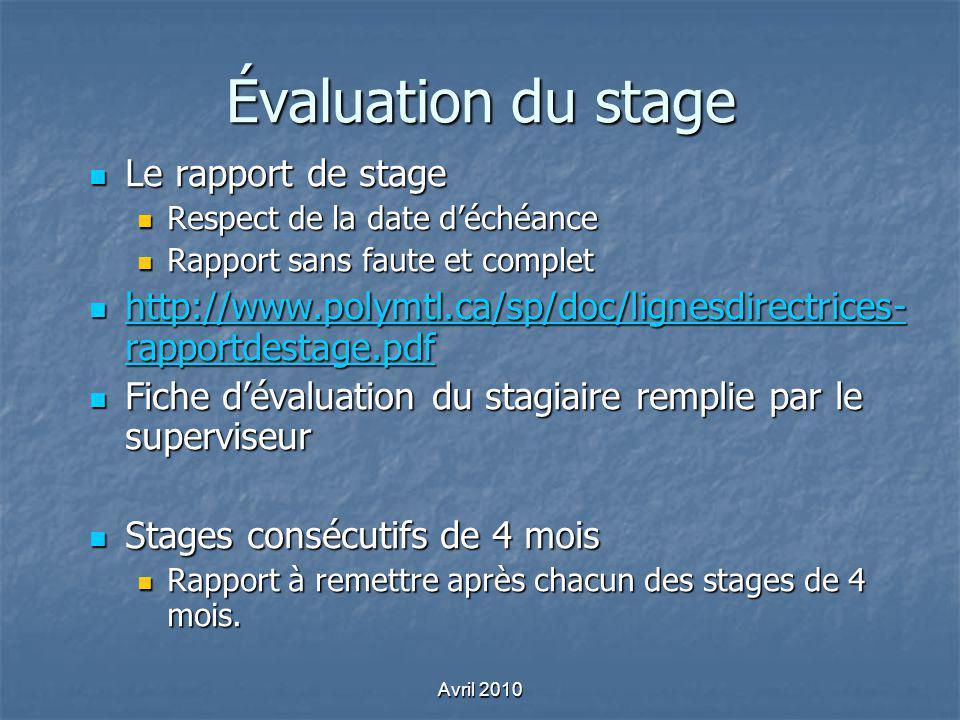 Évaluation du stage Le rapport de stage