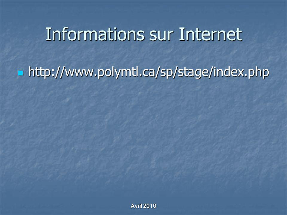 Informations sur Internet