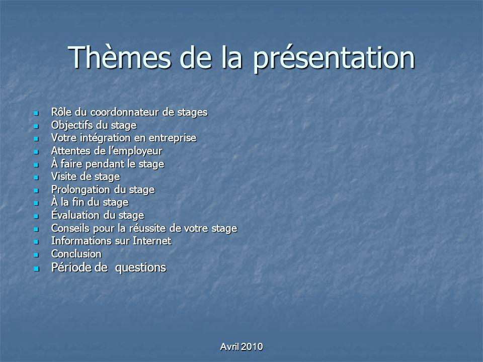 Thèmes de la présentation