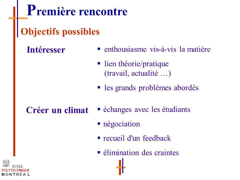 Première rencontre Objectifs possibles Intéresser Créer un climat