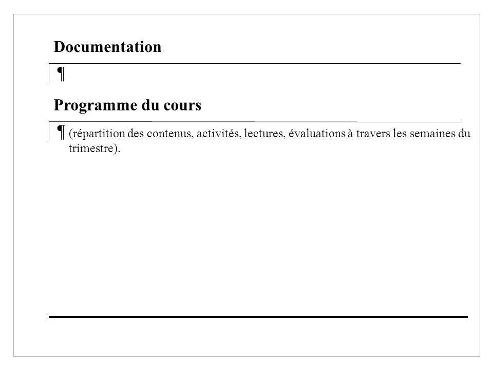 Documentation ¶ Programme du cours ¶
