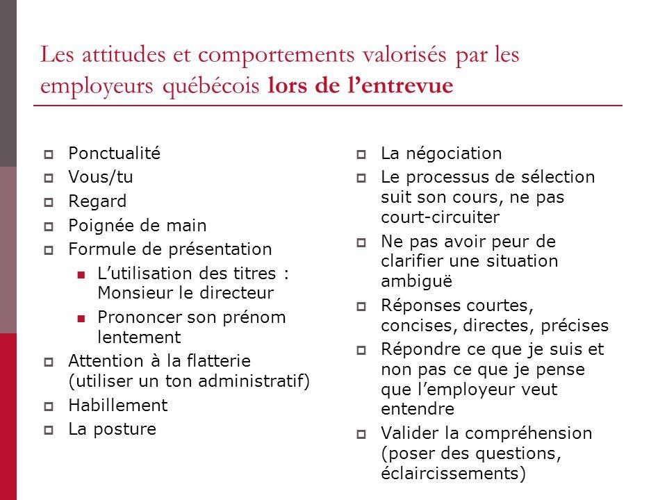 Les attitudes et comportements valorisés par les employeurs québécois lors de l'entrevue