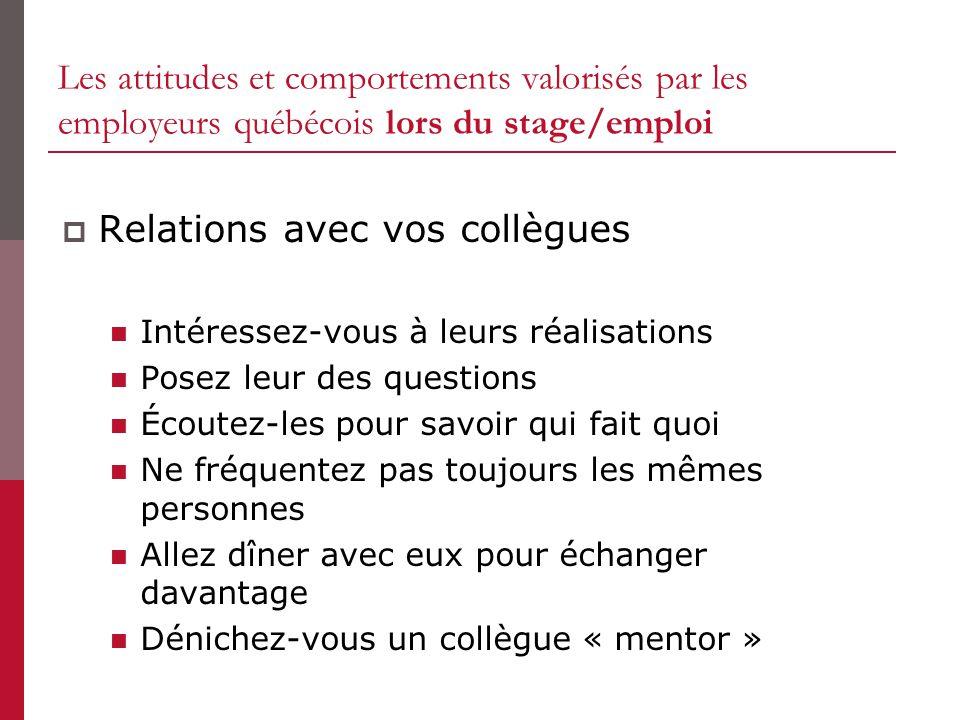 Relations avec vos collègues