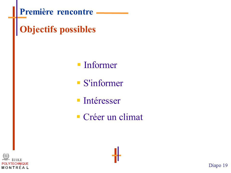 Objectifs possibles Informer S informer Intéresser Créer un climat