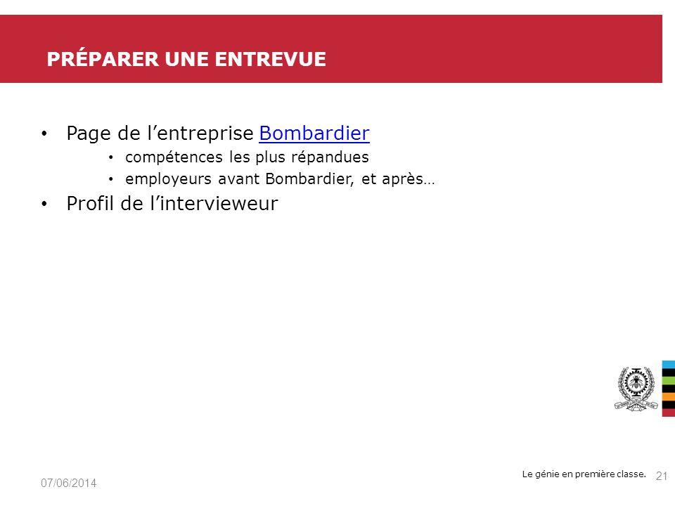 Page de l'entreprise Bombardier