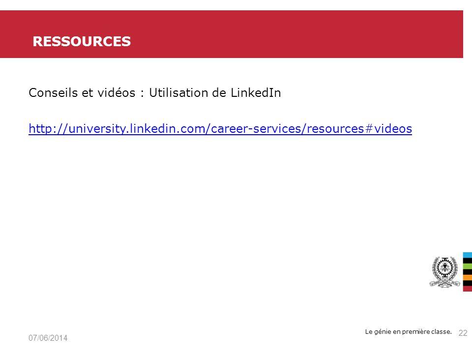 ressources Conseils et vidéos : Utilisation de LinkedIn http://university.linkedin.com/career-services/resources#videos