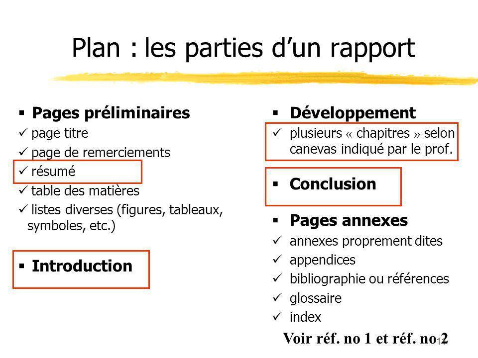 Plan : les parties d'un rapport
