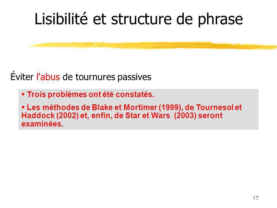 Lisibilité et structure de phrase