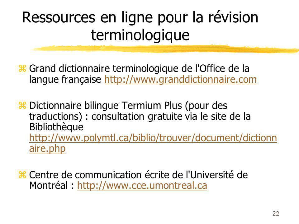 Ressources en ligne pour la révision terminologique