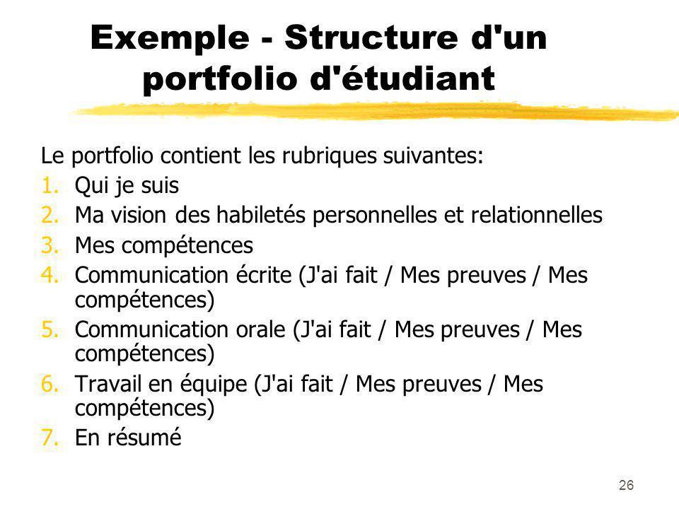 Exemple - Structure d un portfolio d étudiant