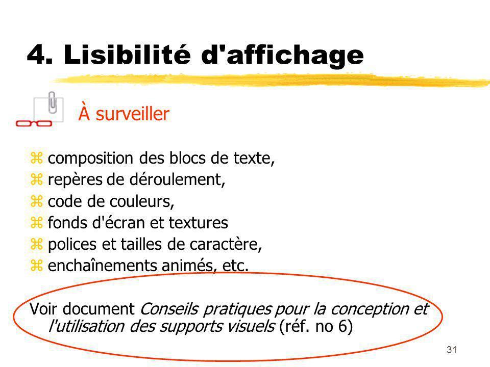 4. Lisibilité d affichage