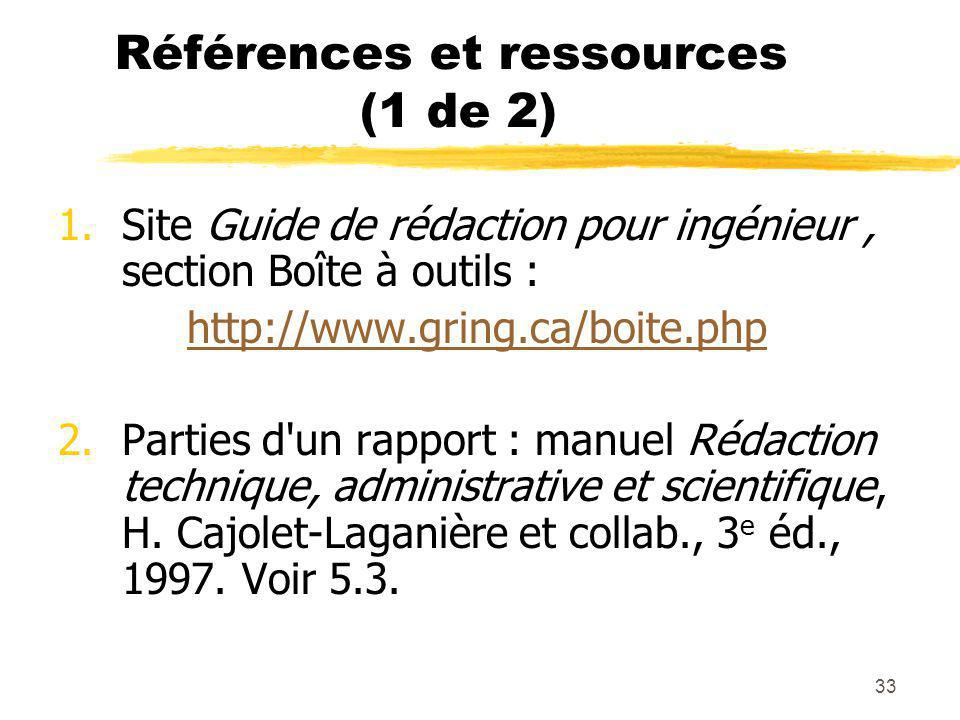 Références et ressources (1 de 2)