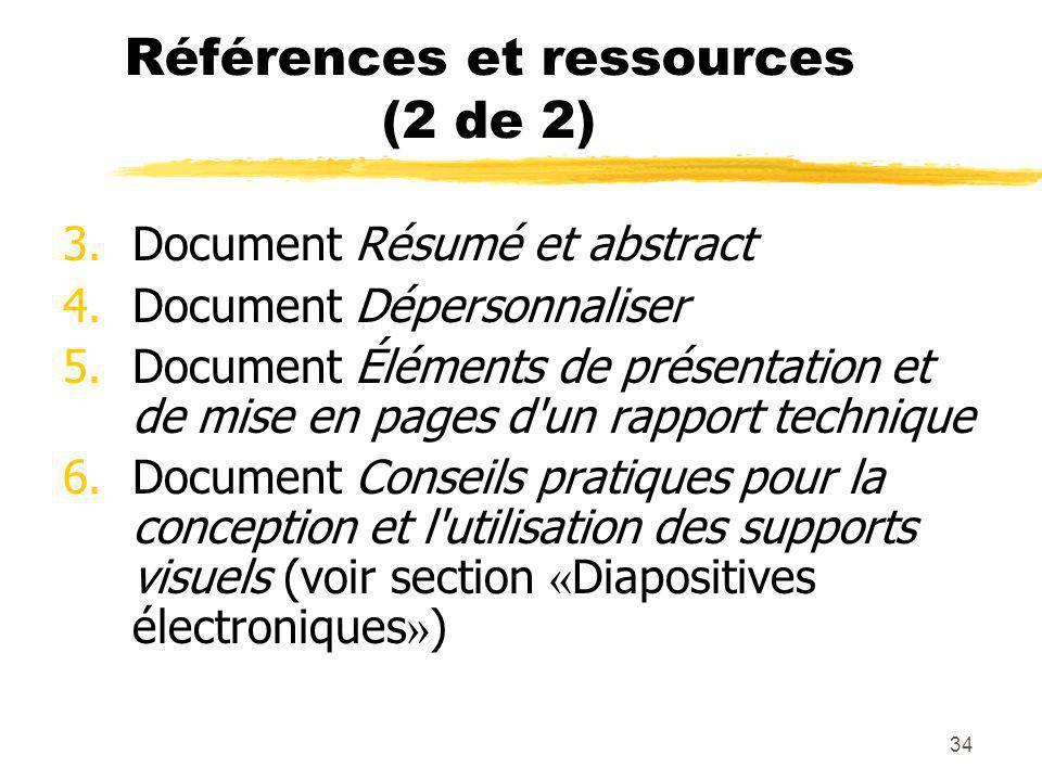Références et ressources (2 de 2)