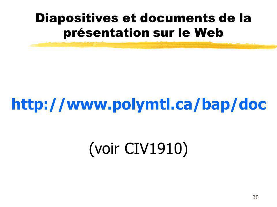 Diapositives et documents de la présentation sur le Web