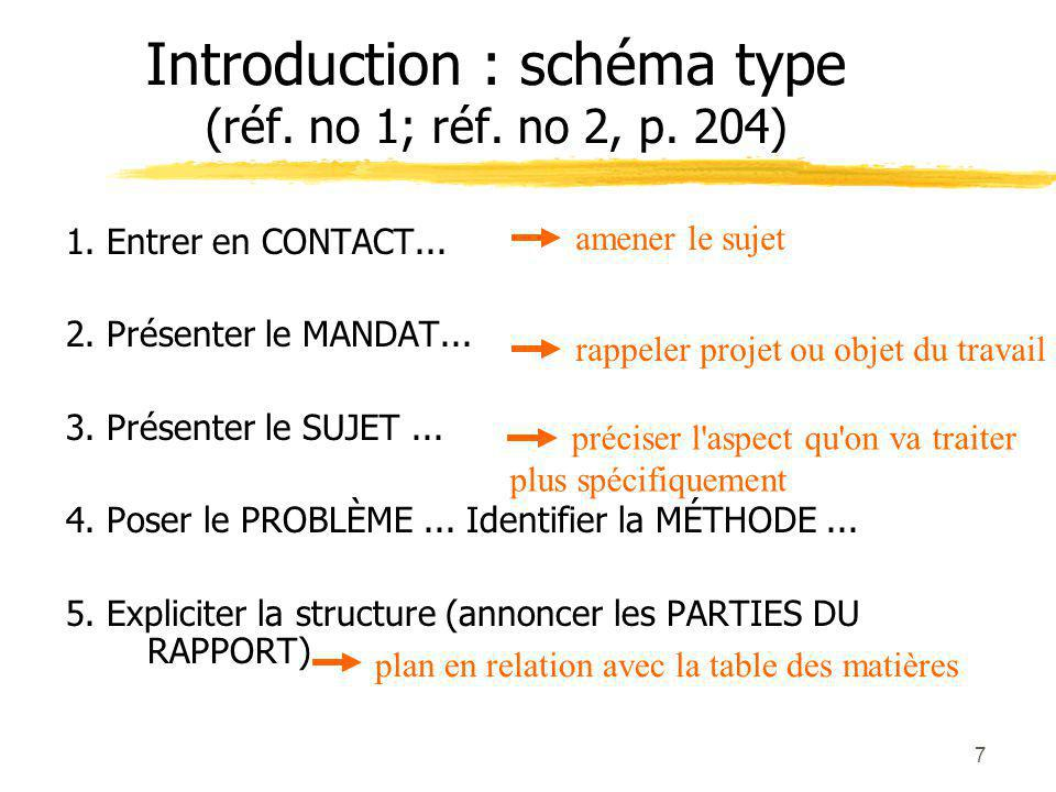 Introduction : schéma type (réf. no 1; réf. no 2, p. 204)