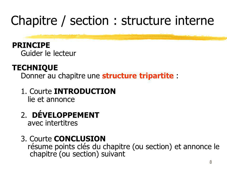 Chapitre / section : structure interne