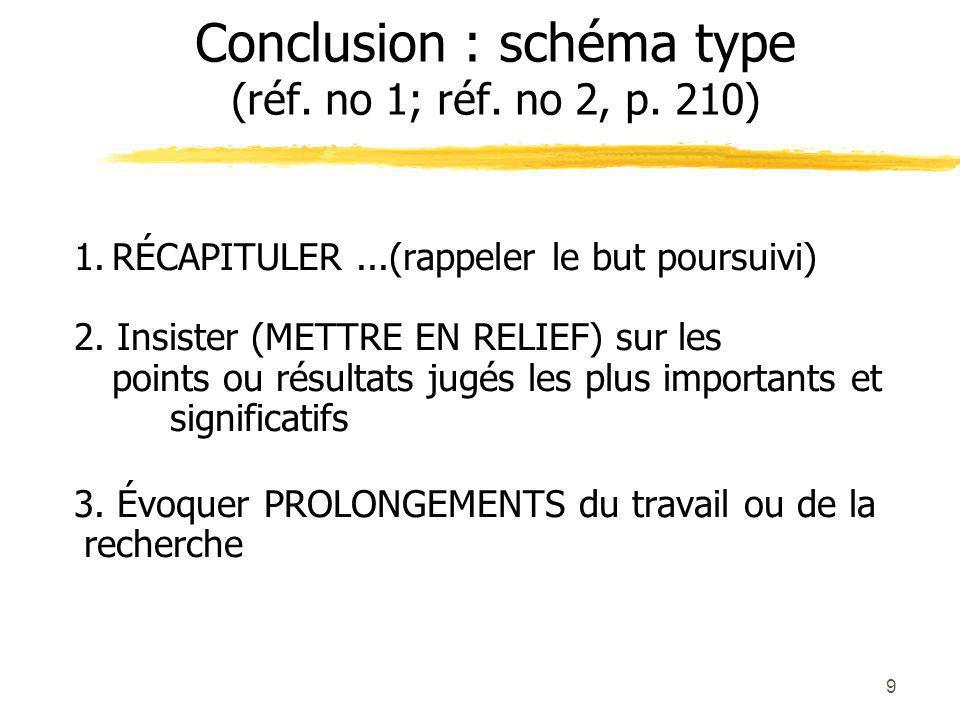Conclusion : schéma type (réf. no 1; réf. no 2, p. 210)