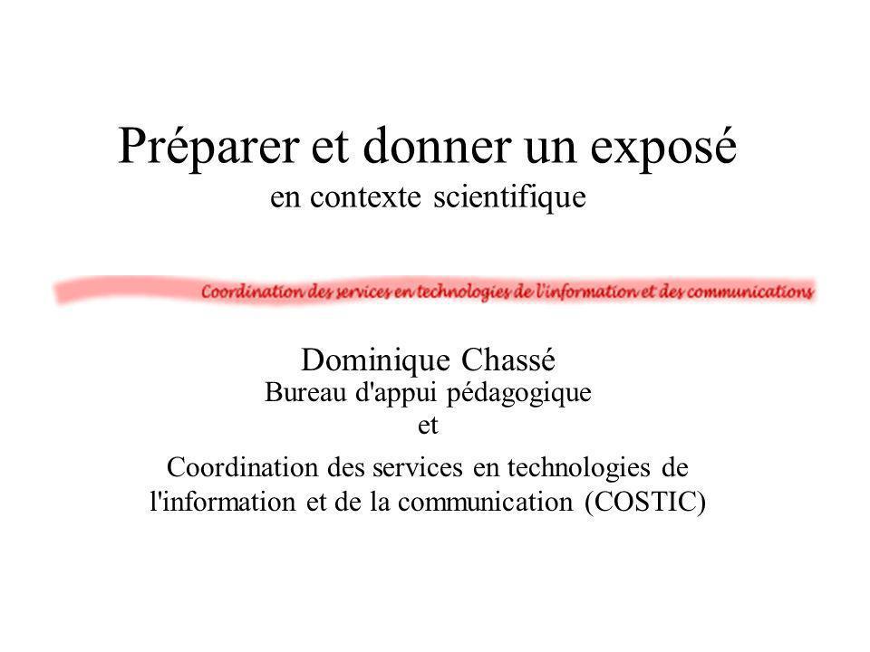 Préparer et donner un exposé en contexte scientifique
