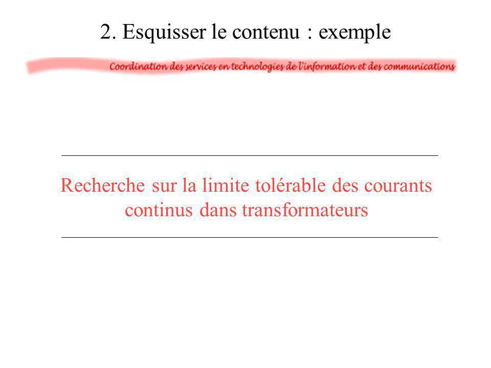 2. Esquisser le contenu : exemple