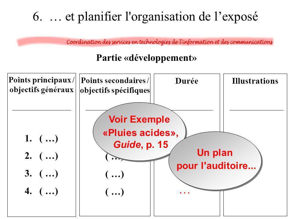 6. … et planifier l organisation de l'exposé