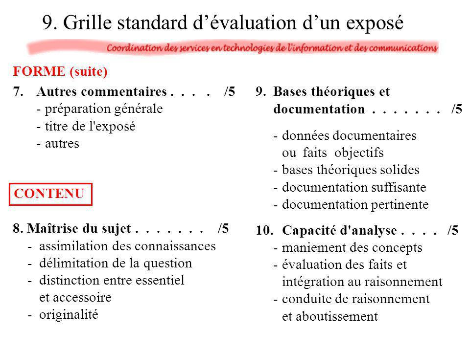 9. Grille standard d'évaluation d'un exposé