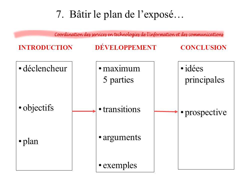 7. Bâtir le plan de l'exposé…
