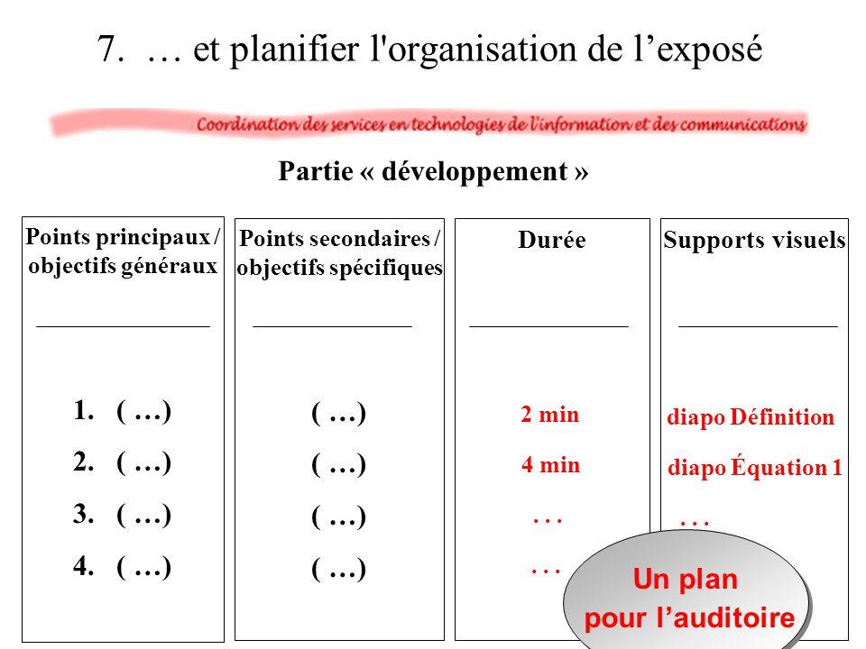 7. … et planifier l organisation de l'exposé