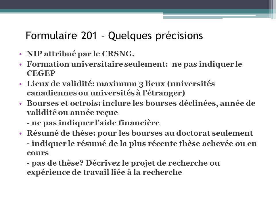 Formulaire 200 Formulaire 201 - Quelques précisions