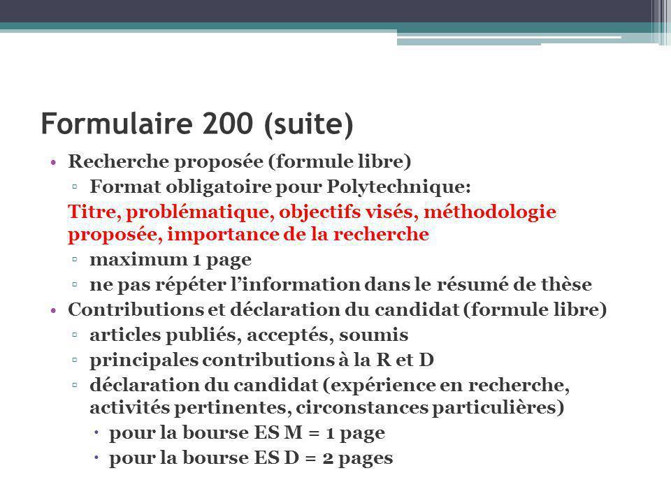 Formulaire 200 (suite) Recherche proposée (formule libre)