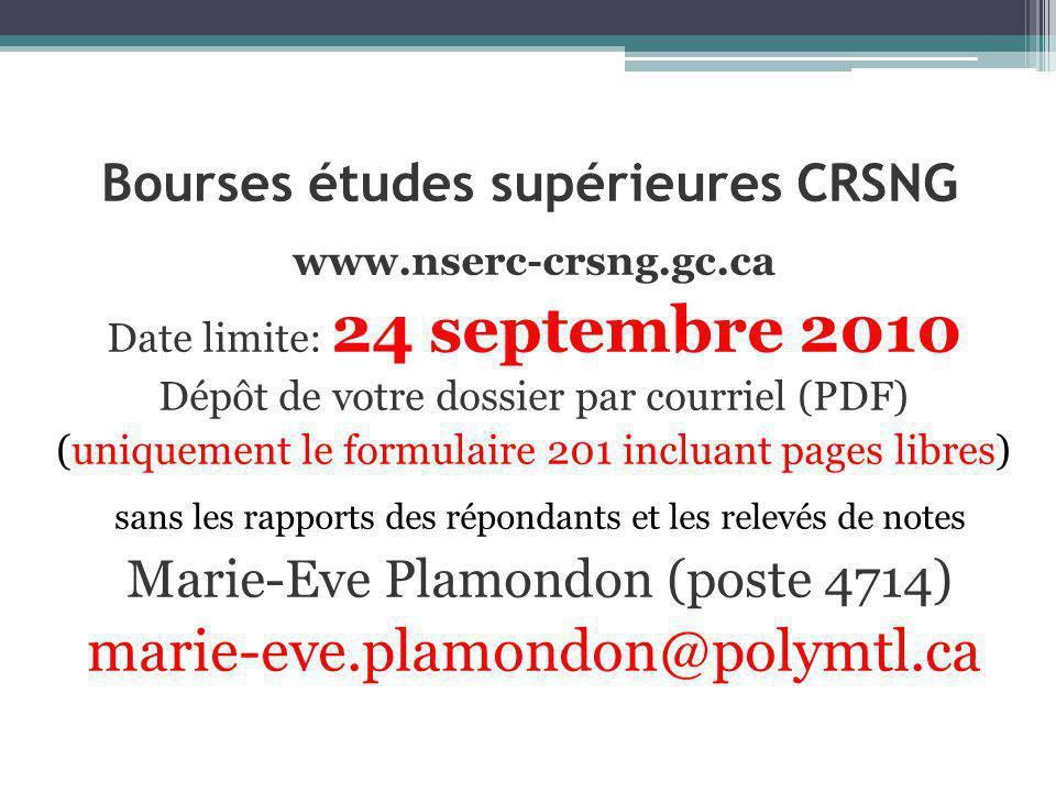 Bourses études supérieures CRSNG