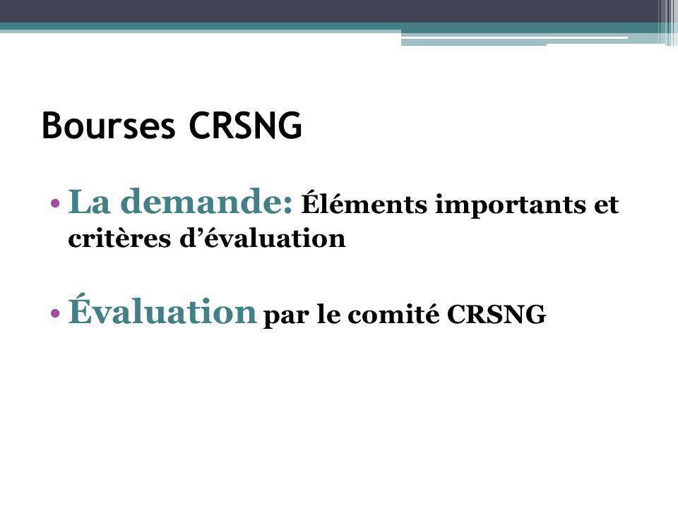 Bourses CRSNG La demande: Éléments importants et critères d'évaluation