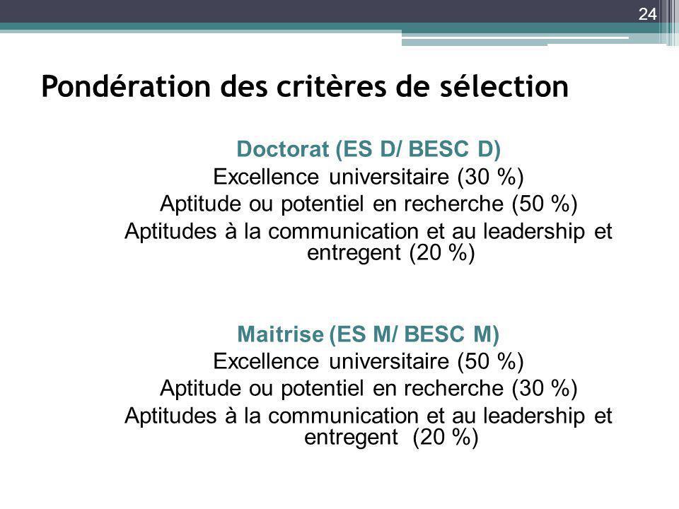Pondération des critères de sélection