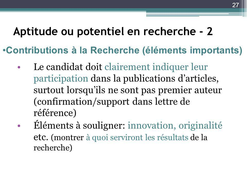 Aptitude ou potentiel en recherche - 2