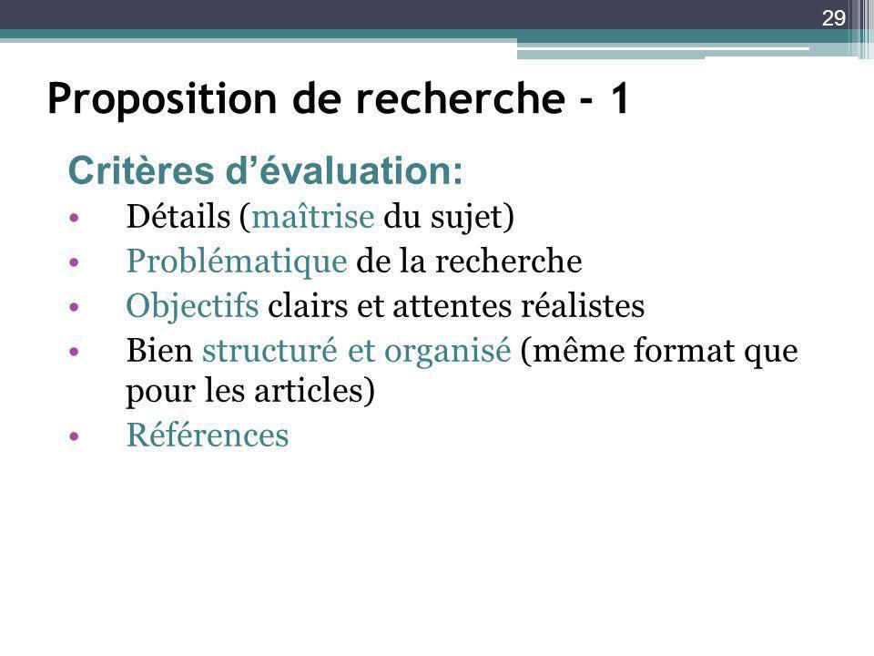 Proposition de recherche - 1