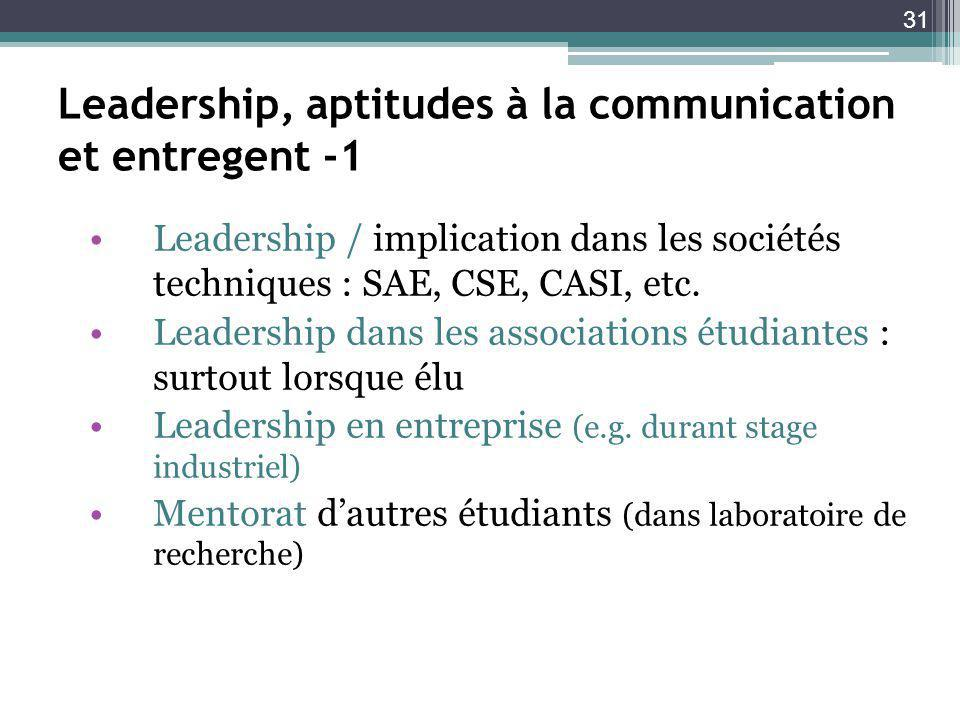Leadership, aptitudes à la communication et entregent -1