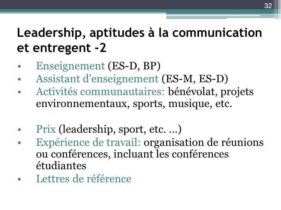 Leadership, aptitudes à la communication et entregent -2