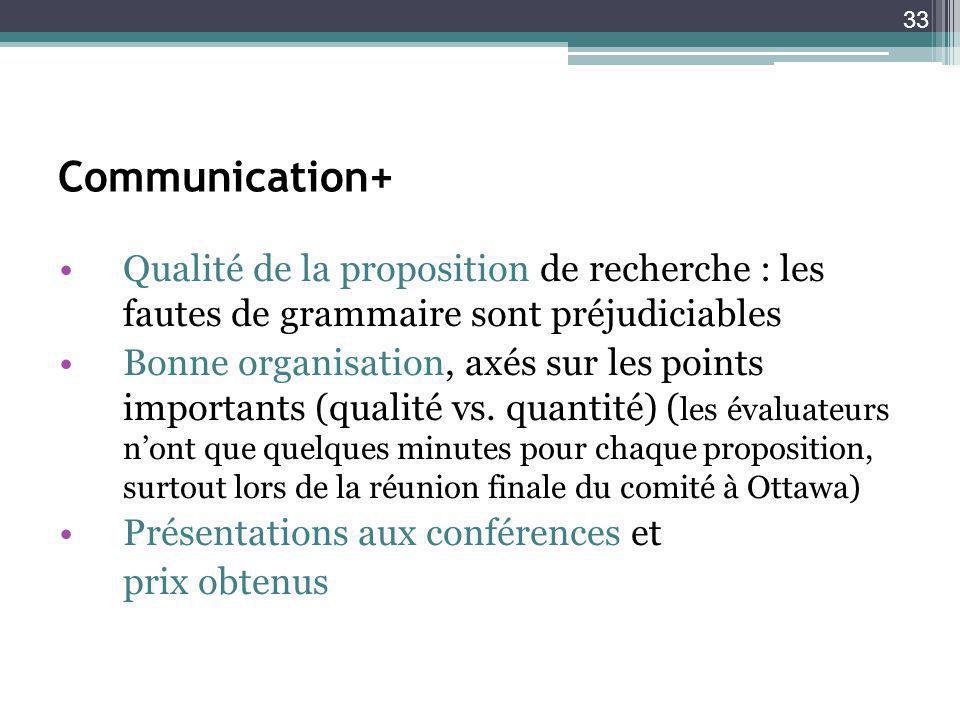 Communication+ Qualité de la proposition de recherche : les fautes de grammaire sont préjudiciables.