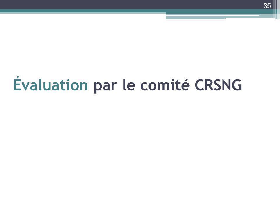 Évaluation par le comité CRSNG