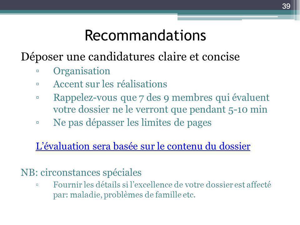 Recommandations Déposer une candidatures claire et concise