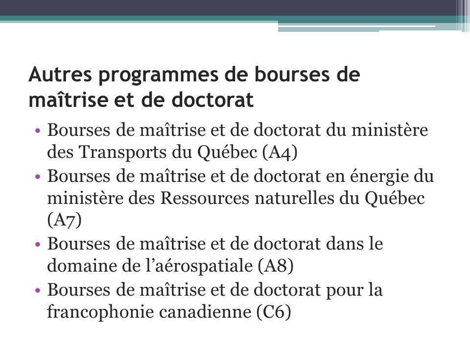 Autres programmes de bourses de maîtrise et de doctorat