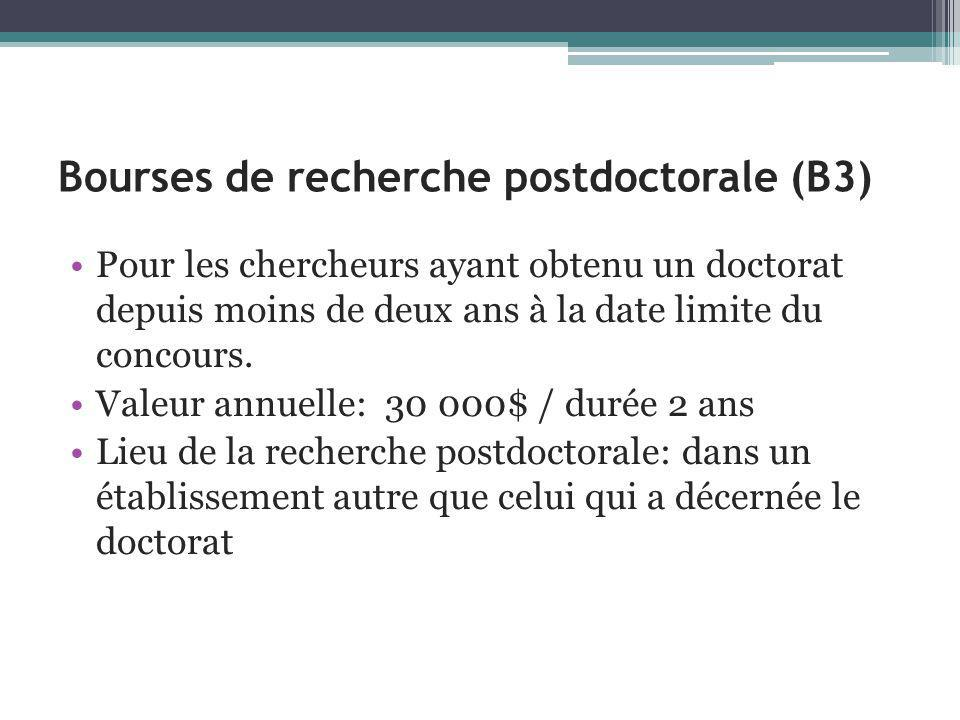 Bourses de recherche postdoctorale (B3)
