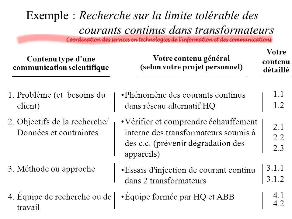 Exemple : Recherche sur la limite tolérable des courants continus dans transformateurs