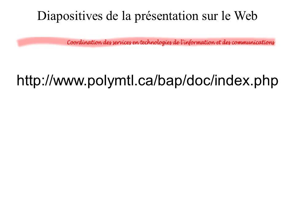 Diapositives de la présentation sur le Web